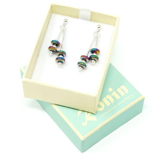 Ronin Gemstone Drop Earring Silk Colourful Haematite