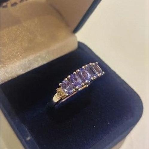5 stone Tanzanite and Diamond Sterling Silver ring