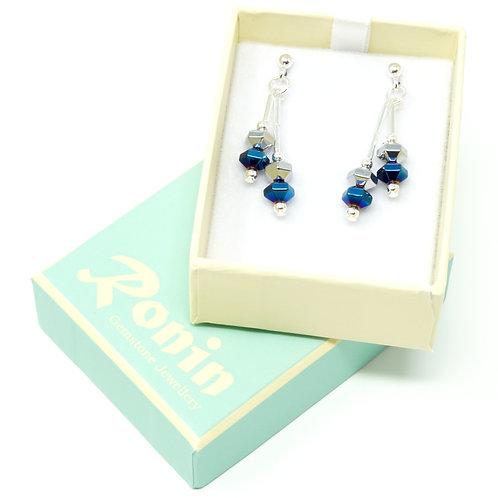 Ronin Gemstone Drop Earrings Skye with Faceted Haematite