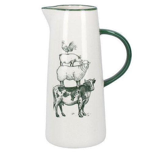 Gisela Graham Tall Farmyard Jug Pig Cow Sheep Hen Cockrel
