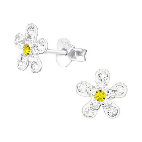 Sterling Silver Crystal Daisy Flower Ear Studs