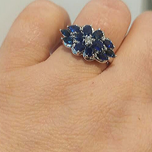 Sapphire and Diamond Sterling SIlver ring