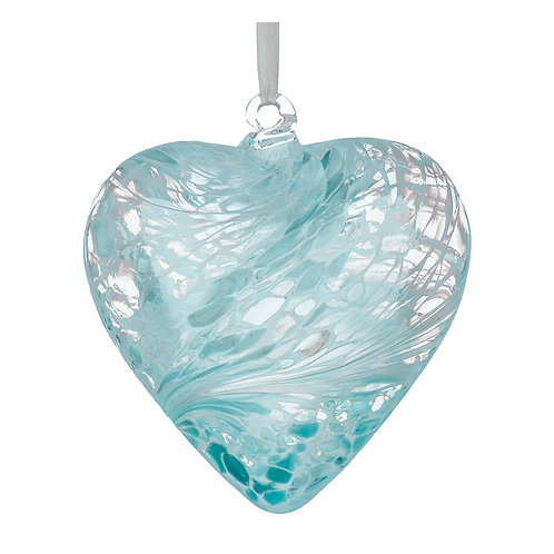 Aquamarine Blue Glass Friendship Glass Heart 8 cm with Gift Box