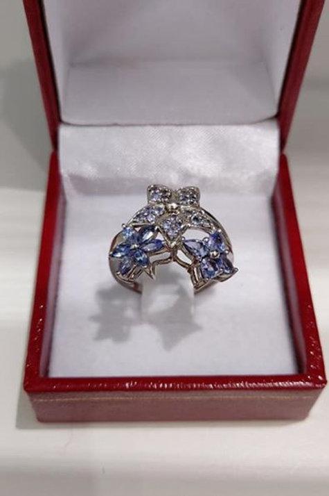 Tanzanite Sterling Silver Star Dress Ring