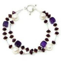 "Ronin Gemstone 8"" Bracelet Isabel with Pearls, Haematite, Agate"