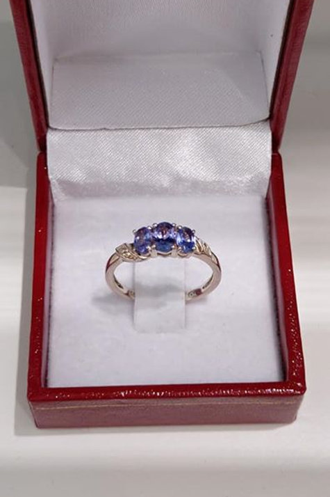 Tanzanite and White Topaz Trilogy Ring in Sterling Silver