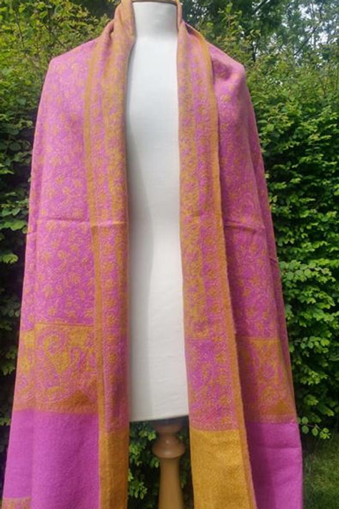 Fairtrade Reversible Nepal Shawl - Pink and Gold