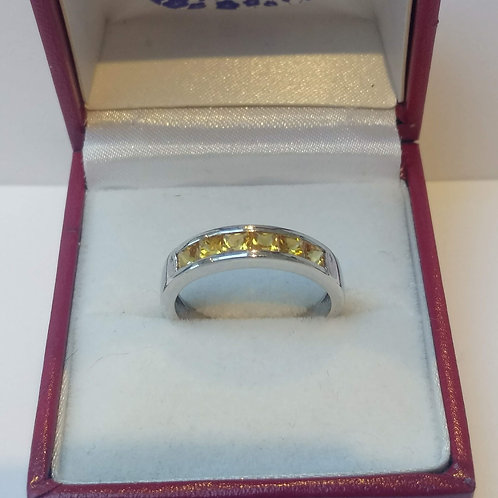 Sapphire Yellow Channel Set Sterling Silver ring