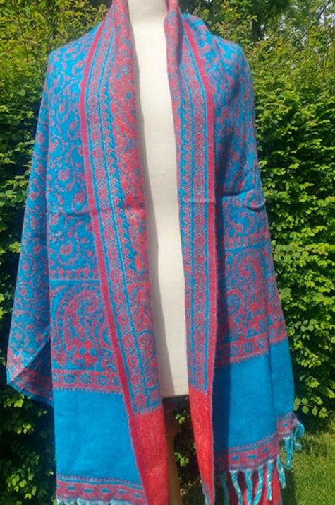 Fairtrade Reversible Nepal Shawl - Turquoise and Red