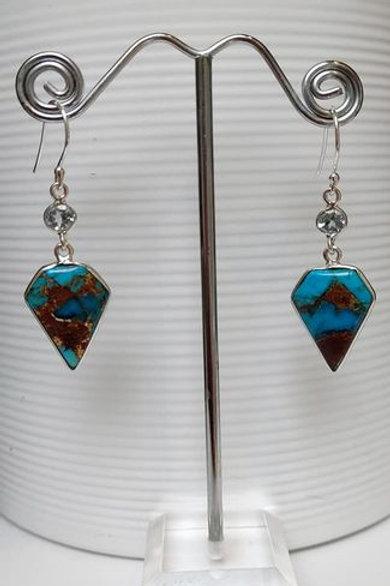 Rare Basalt Turquoise & Blue Topaz Sterling Silver Drop Earrings
