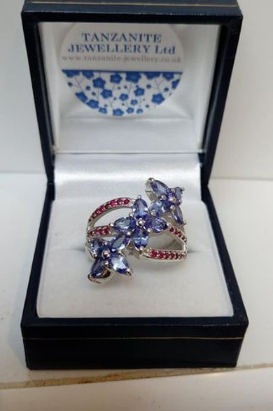 Tanzanite and Ruby Sterling Silver Dress Ring