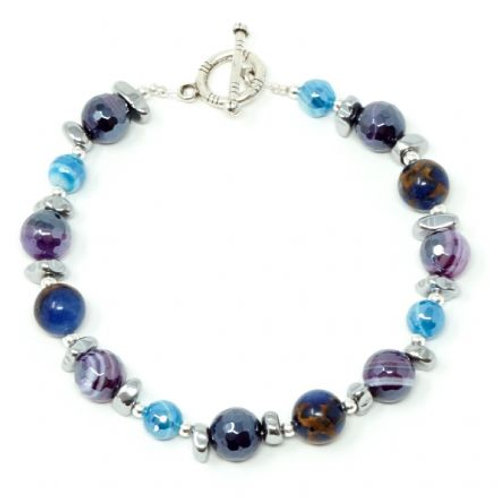 "Ronin Gemstone 8"" Bracelet Folklore Agate & Haematite"