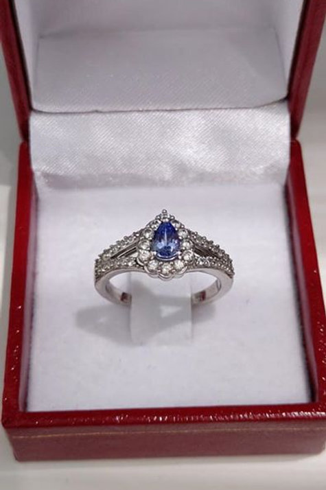 Tanzanite and White Zircon Pear Cut Sterling Silver ring
