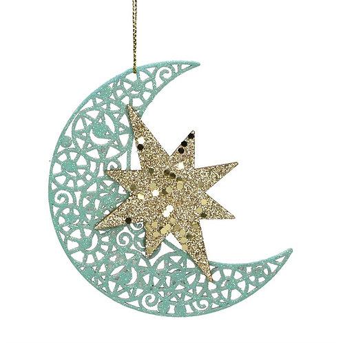 Gisela Graham Wood Fret Moon & Star Sparkling Hanging Dec