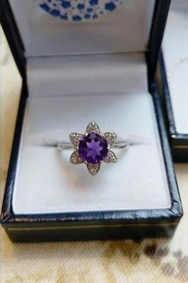 Amethyst & White Zircon Floral Inspired Sterling Silver ring