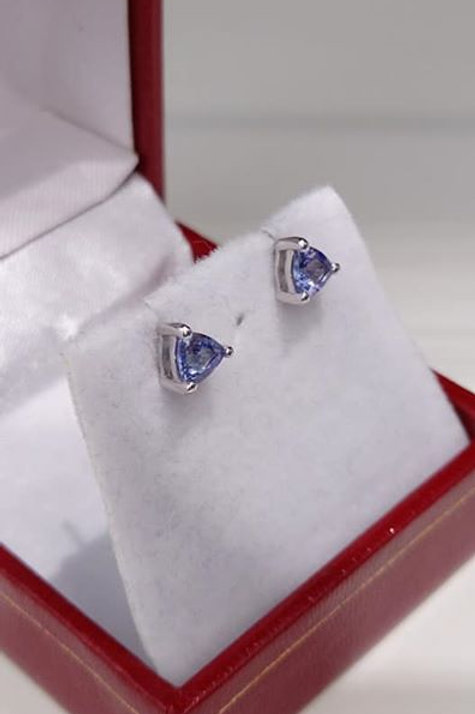 Tanzanite trillion cut earrings set in Sterling Silver