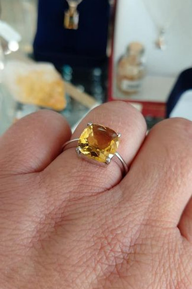 Citrine Cushion Cut Solitaire set in Sterling Silver