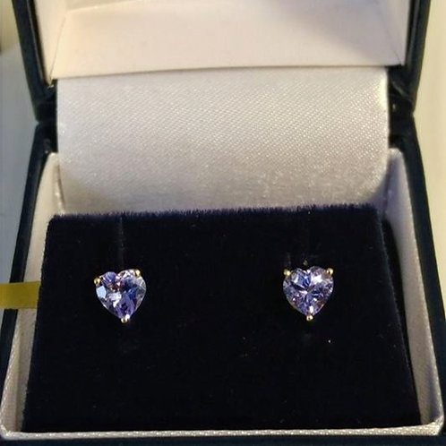 1 carat Heart ShapedTanzanite 9k Yellow Gold Earrings