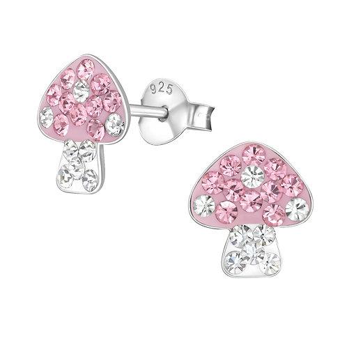 Sterling Silver sparkly Mushroom stud earrings