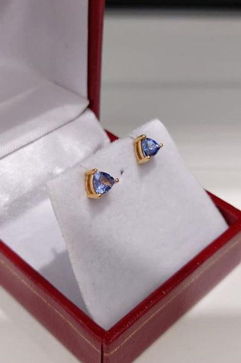 Tanzanite 0.75 carat 14K Gold Overlay Sterling Silver Earrings