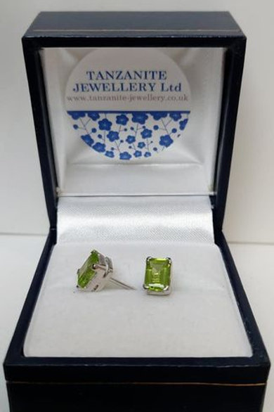 Peridot rectangle prong set stud earrings in Sterling Silver