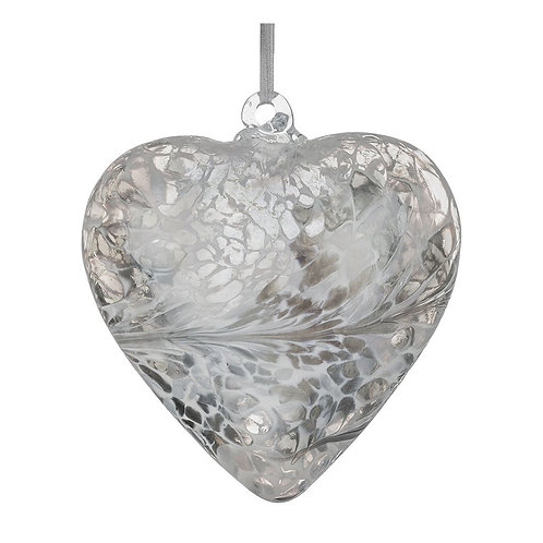 Silver Glass Friendship Glass Heart 8 cm with Gift Box