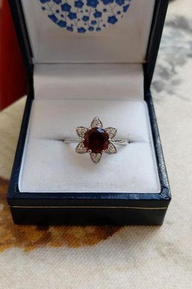 Garnet & White Zircon Sterling Silver ring