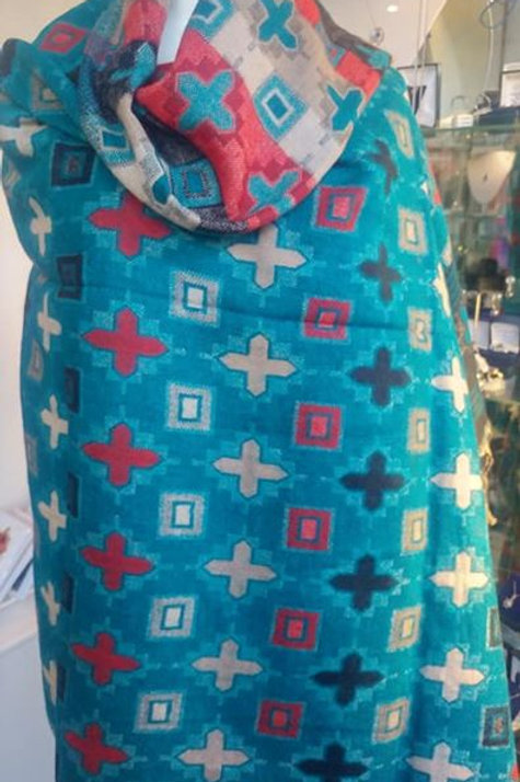 Fairtrade Reversible Nepal Shawl - Teal Crosses & Squares