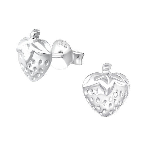 Sterling Silver Strawberry stud earrings 7 x 8 mm