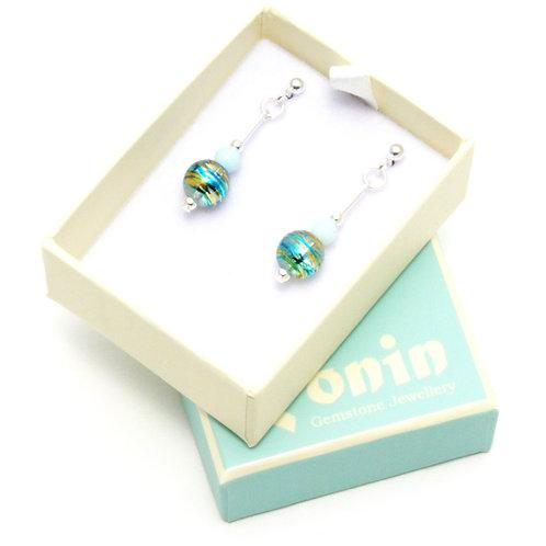 Ronin Gemstone Drop Earrings Fizz Patterned Beads with Jade