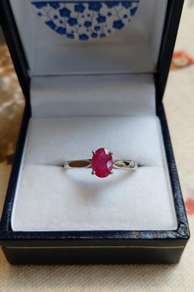 Ruby Oval Solitaire 7 x 5 mm set in Sterling Silver