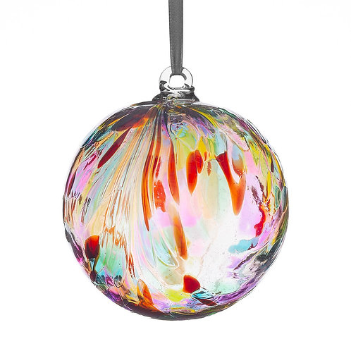 Friendship Ball 10 cm Multi Colour Feather Design Glass