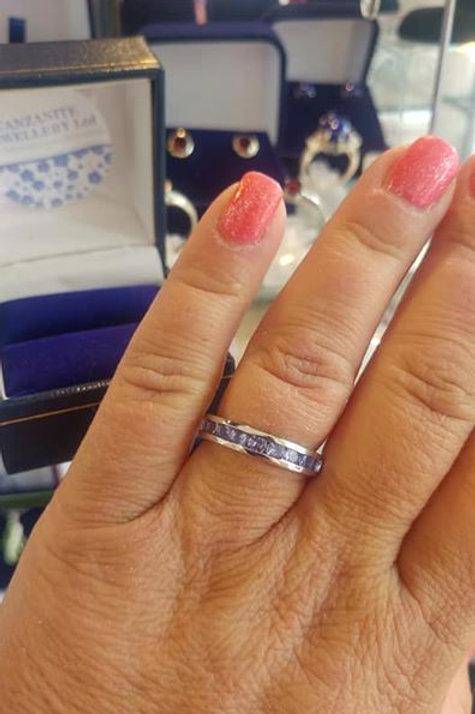 Tanzanite 1ct Half Eternity Ring set in Sterling Silver