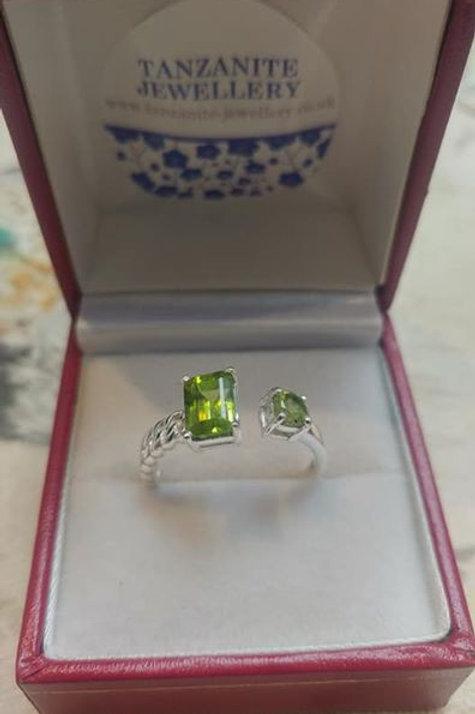 Peridot Adjustable Sterling Silver ring