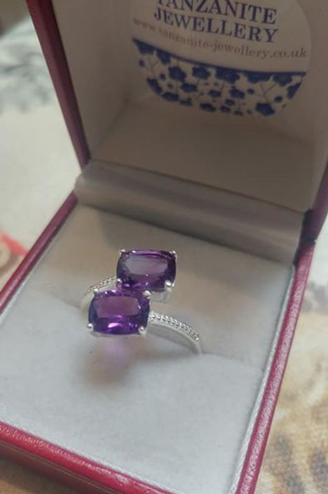Amethyst Bypass Ring in Sterling Silver