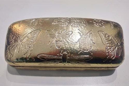 Gisela Graham Gold Metallic Hard Glasses Case Embossed Butterfly Bee Beetle