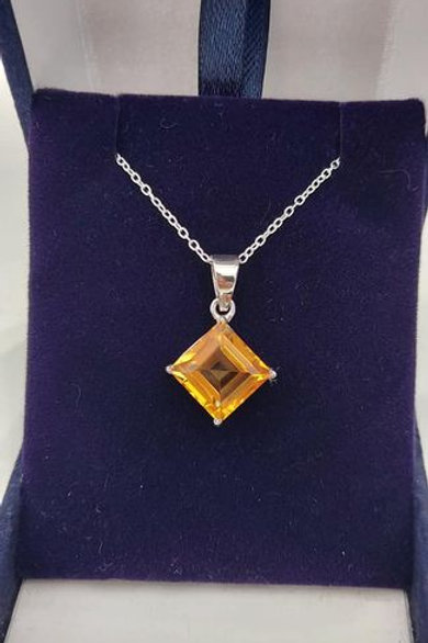Citrine Square cut solitaire pendant set in Sterling Silver with chain