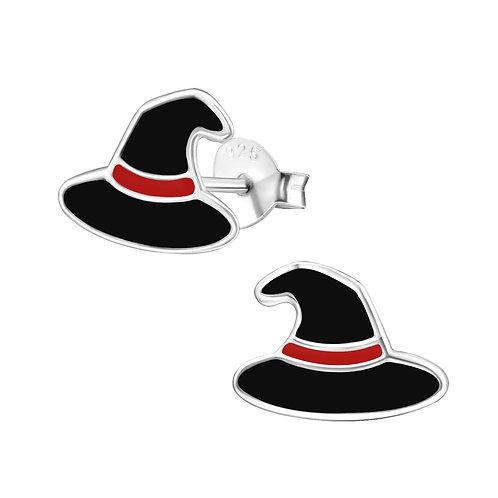 Sterling Silver Witch Hat stud earrings 11 x 8 mm