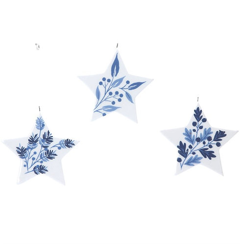 Gisela Graham Blue & White Ceramic Star Decorations - set of 3