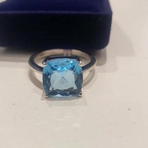 Topaz Blue Sterling Silver ring 11 x 11 mm