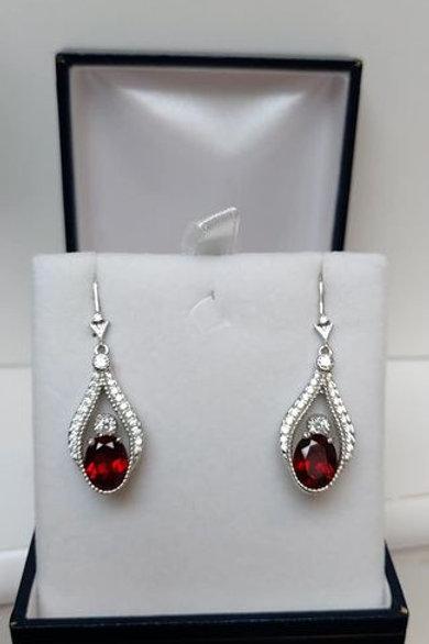 Garnet and White Zircon Sterling Silver drop earrings