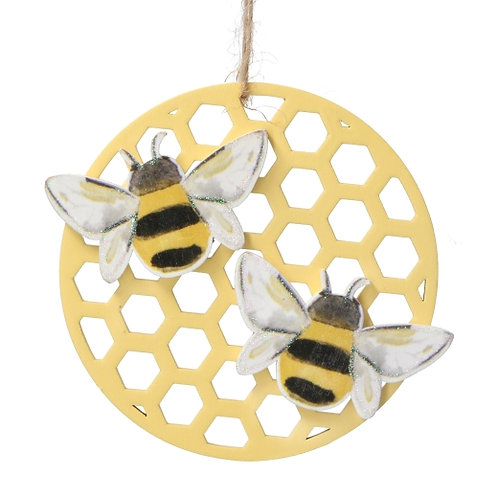 Gisela Graham Wood Bees Disc Easter Decoration