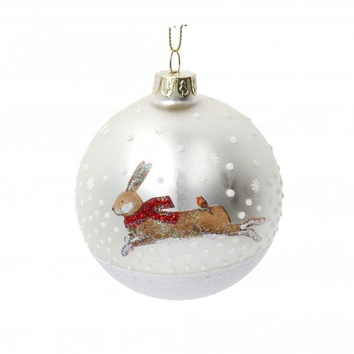 Gisela Graham Hare on a Glass Bauble Decoration