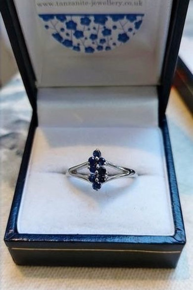Dainty Blue Sapphire Sterling Silver Ring