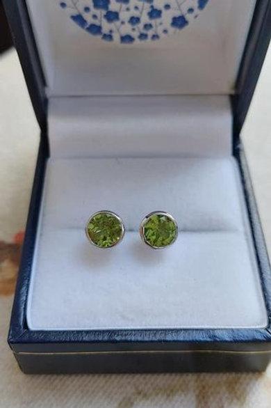 Peridot Bezel set stud earrings in Sterling Silver