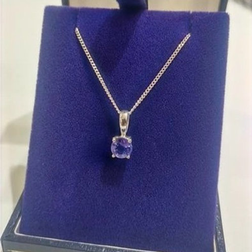 5 mm round cut Tanzanite Pendant set in Sterling Silver