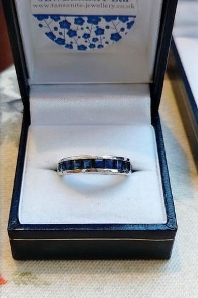Blue Sapphire Channel set in Sterling Silver