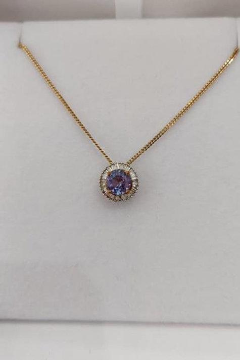 1 carat Tanzanite and Diamond 9k Yellow Gold Pendant & Chain