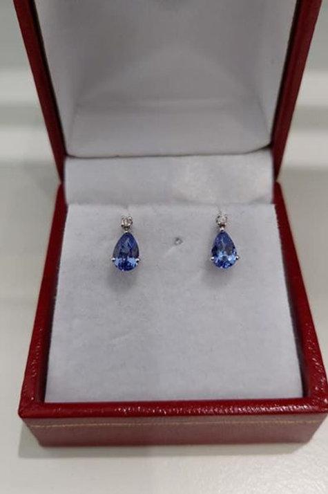 1 carat Tanzanite and Diamond Pear Cut Stud Earrings