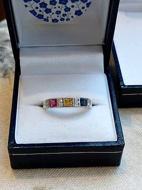 Sapphire, Ruby and Diamond Ring set in Sterling Silver